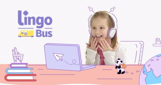 Kids taking Lingo Bus class