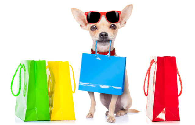 A dog with many shopping bag