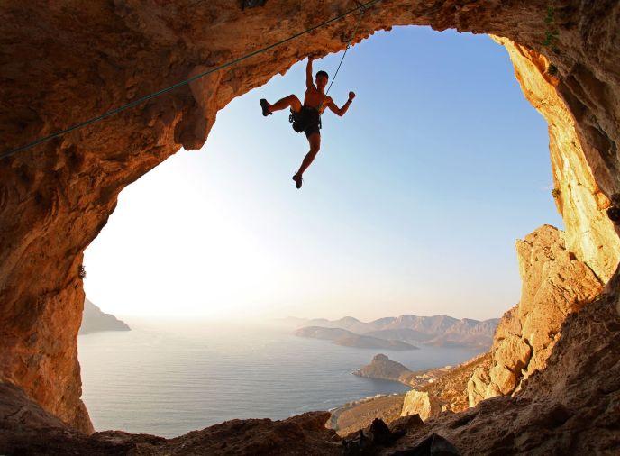 17339236 - rock climber at sunset  kalymnos island, greece